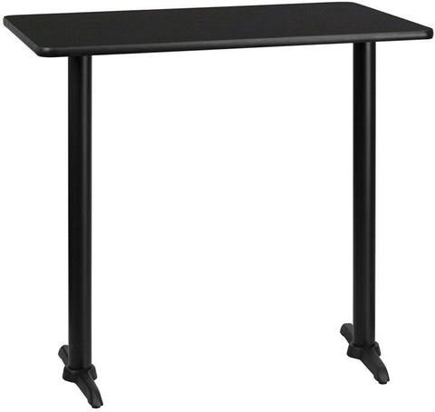 Flash Furniture XU-BLKTB-3042-T0522B-GG 30'' x 42'' Rectangular Black Laminate Table Top with 5'' x 22'' Bar Height Table Bases - Peazz Furniture