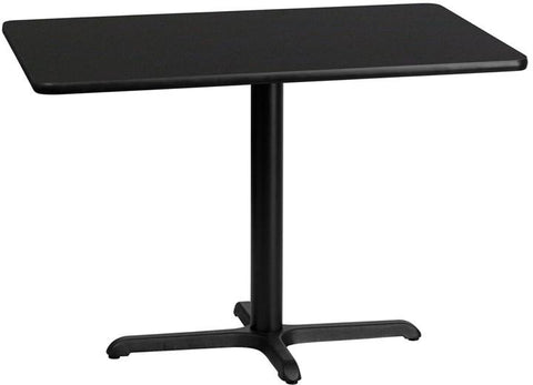 Flash Furniture XU-BLKTB-3042-T2230-GG 30'' x 42'' Rectangular Black Laminate Table Top with 22'' x 30'' Table Height Base - Peazz Furniture