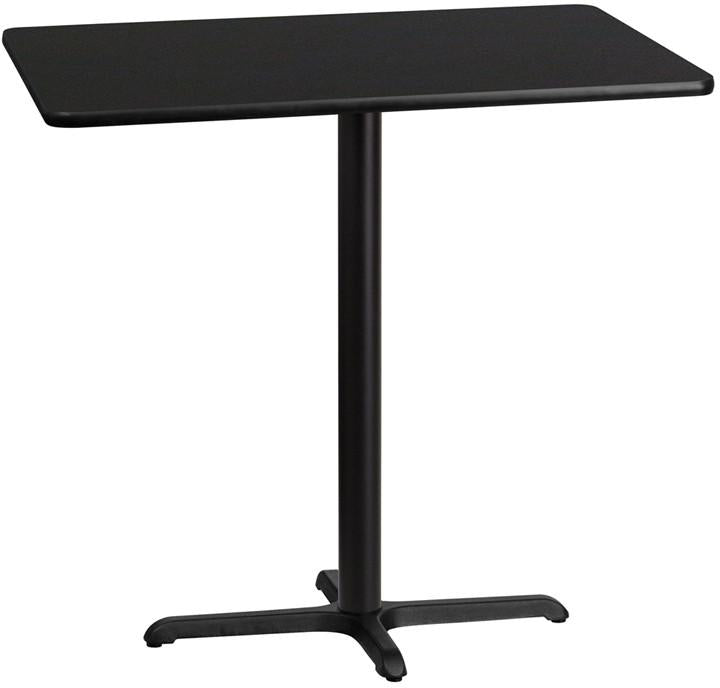 Flash Furniture XU-BLKTB-3042-T2230B-GG 30'' x 42'' Rectangular Black Laminate Table Top with 22'' x 30'' Bar Height Table Base