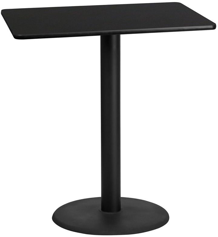Flash Furniture XU-BLKTB-3042-TR24B-GG 30'' x 42'' Rectangular Black Laminate Table Top with 24'' Round Bar Height Table Base
