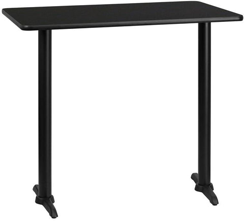 Flash Furniture XU-BLKTB-3045-T0522B-GG 30'' x 45'' Rectangular Black Laminate Table Top with 5'' x 22'' Bar Height Table Bases - Peazz Furniture