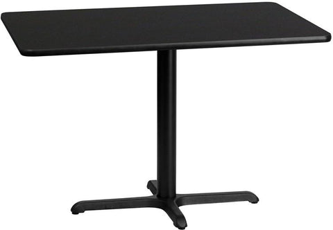 Flash Furniture XU-BLKTB-3045-T2230-GG 30'' x 45'' Rectangular Black Laminate Table Top with 22'' x 30'' Table Height Base - Peazz Furniture