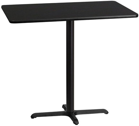 Flash Furniture XU-BLKTB-3045-T2230B-GG 30'' x 45'' Rectangular Black Laminate Table Top with 22'' x 30'' Bar Height Table Base - Peazz Furniture