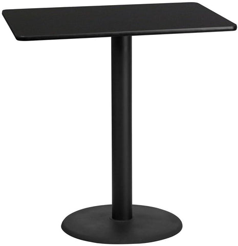 Flash Furniture XU-BLKTB-3045-TR24B-GG 30'' x 45'' Rectangular Black Laminate Table Top with 24'' Round Bar Height Table Base - Peazz Furniture