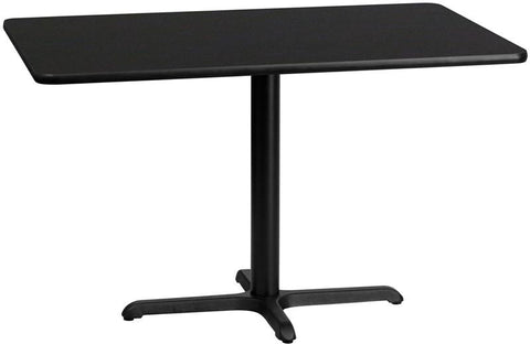 Flash Furniture XU-BLKTB-3048-T2230-GG 30'' x 48'' Rectangular Black Laminate Table Top with 22'' x 30'' Table Height Base - Peazz Furniture