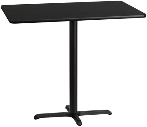 Flash Furniture XU-BLKTB-3048-T2230B-GG 30'' x 48'' Rectangular Black Laminate Table Top with 22'' x 30'' Bar Height Table Base - Peazz Furniture