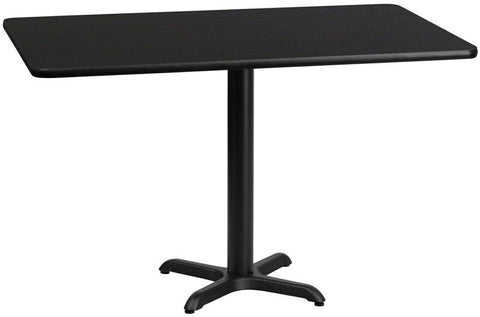 Flash Furniture XU-BLKTB-3060-T2222-GG 30'' x 60'' Rectangular Black Laminate Table Top with 22'' x 22'' Table Height Bases - Peazz Furniture