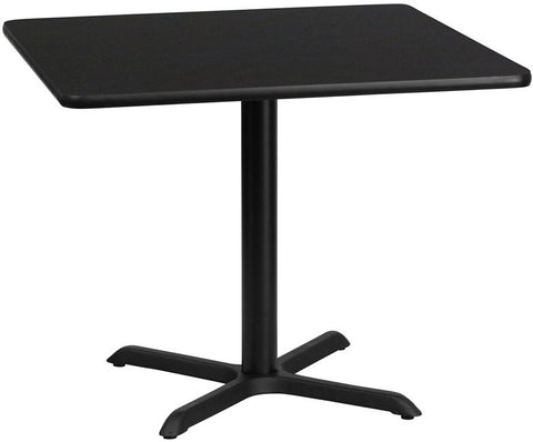 Flash Furniture XU-BLKTB-3636-T3030-GG 36'' Square Black Laminate Table Top with 30'' x 30'' Table Height Base - Peazz Furniture