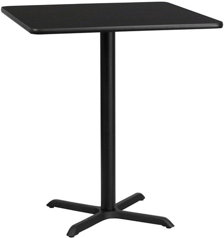 Flash Furniture XU-BLKTB-3636-T3030B-GG 36'' Square Black Laminate Table Top with 30'' x 30'' Bar Height Table Base - Peazz Furniture