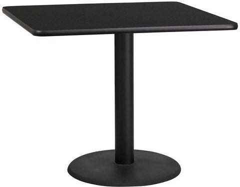 Flash Furniture XU-BLKTB-3636-TR24-GG 36'' Square Black Laminate Table Top with 24'' Round Table Height Base - Peazz Furniture