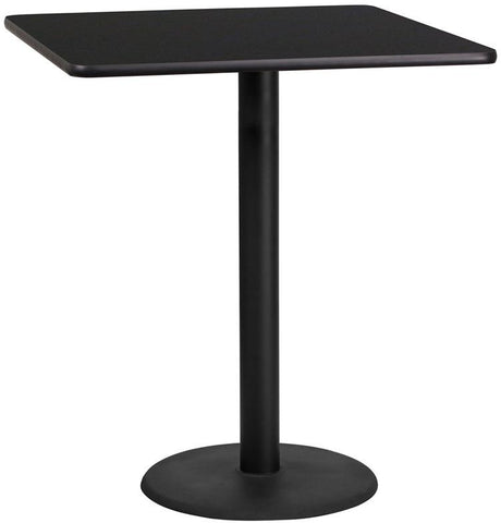 Flash Furniture XU-BLKTB-3636-TR24B-GG 36'' Square Black Laminate Table Top with 24'' Round Bar Height Table Base - Peazz Furniture