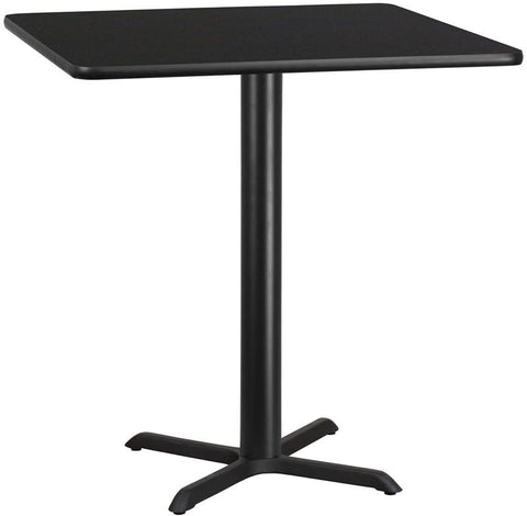 Flash Furniture XU-BLKTB-4242-T3333B-GG 42'' Square Black Laminate Table Top with 33'' x 33'' Bar Height Table Base - Peazz Furniture
