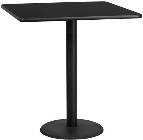 Flash Furniture XU-BLKTB-4242-TR24B-GG 42'' Square Black Laminate Table Top with 24'' Round Bar Height Table Base - Peazz Furniture