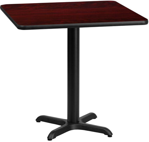Flash Furniture XU-MAHTB-2424-T2222-GG 24'' Square Mahogany Laminate Table Top with 22'' x 22'' Table Height Base - Peazz Furniture