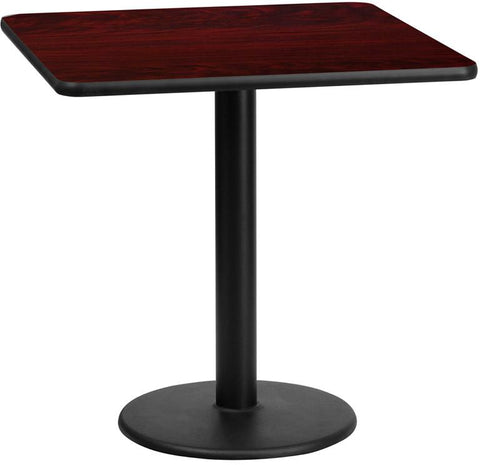Flash Furniture XU-MAHTB-2424-TR18-GG 24'' Square Mahogany Laminate Table Top with 18'' Round Table Height Base - Peazz Furniture