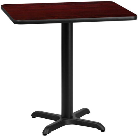 Flash Furniture XU-MAHTB-2430-T2222-GG 24'' x 30'' Rectangular Mahogany Laminate Table Top with 22'' x 22'' Table Height Base - Peazz Furniture