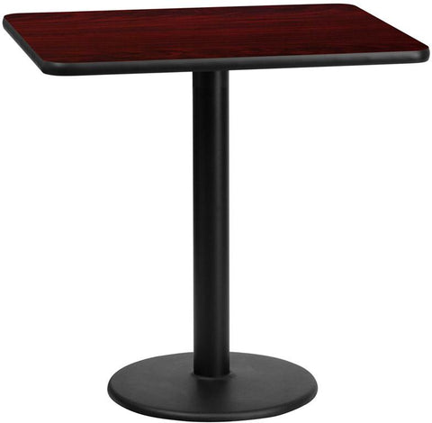 Flash Furniture XU-MAHTB-2430-TR18-GG 24'' x 30'' Rectangular Mahogany Laminate Table Top with 18'' Round Table Height Base - Peazz Furniture