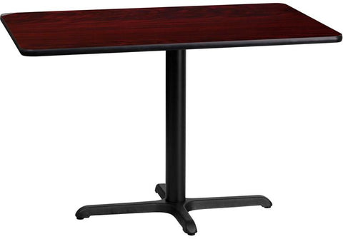 Flash Furniture XU-MAHTB-2442-T2230-GG 24'' x 42'' Rectangular Mahogany Laminate Table Top with 22'' x 30'' Table Height Base - Peazz Furniture