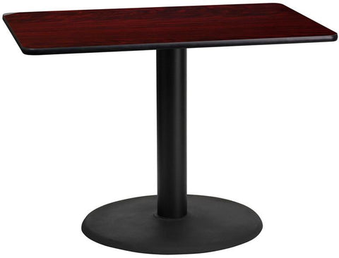 Flash Furniture XU-MAHTB-2442-TR24-GG 24'' x 42'' Rectangular Mahogany Laminate Table Top with 24'' Round Table Height Base - Peazz Furniture