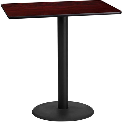 Flash Furniture XU-MAHTB-2442-TR24B-GG 24'' x 42'' Rectangular Mahogany Laminate Table Top with 24'' Round Bar Height Table Base - Peazz Furniture