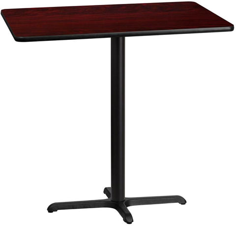 Flash Furniture XU-MAHTB-3042-T2230B-GG 30'' x 42'' Rectangular Mahogany Laminate Table Top with 22'' x 30'' Bar Height Table Base - Peazz Furniture
