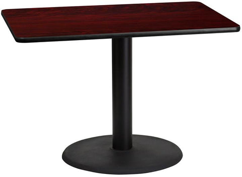 Flash Furniture XU-MAHTB-3042-TR24-GG 30'' x 42'' Rectangular Mahogany Laminate Table Top with 24'' Round Table Height Base - Peazz Furniture