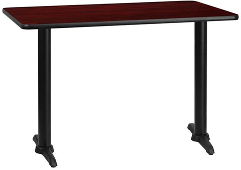 Flash Furniture XU-MAHTB-3045-T0522-GG 30'' x 45'' Rectangular Mahogany Laminate Table Top with 5'' x 22'' Table Height Bases - Peazz Furniture
