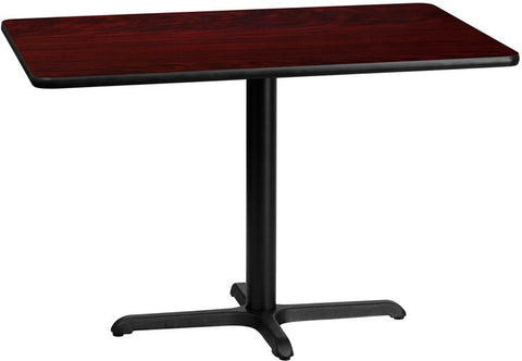 Flash Furniture XU-MAHTB-3045-T2230-GG 30'' x 45'' Rectangular Mahogany Laminate Table Top with 22'' x 30'' Table Height Base - Peazz Furniture