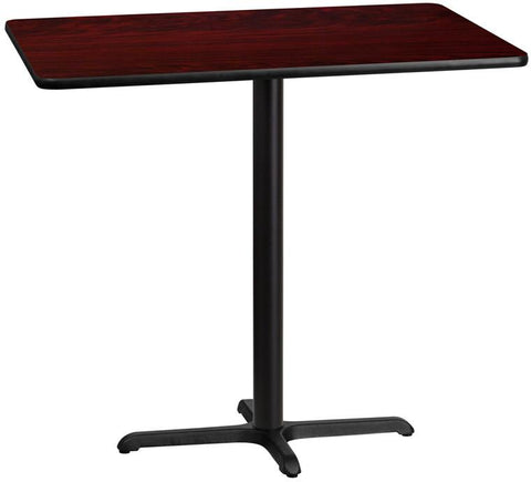 Flash Furniture XU-MAHTB-3045-T2230B-GG 30'' x 45'' Rectangular Mahogany Laminate Table Top with 22'' x 30'' Bar Height Table Base - Peazz Furniture
