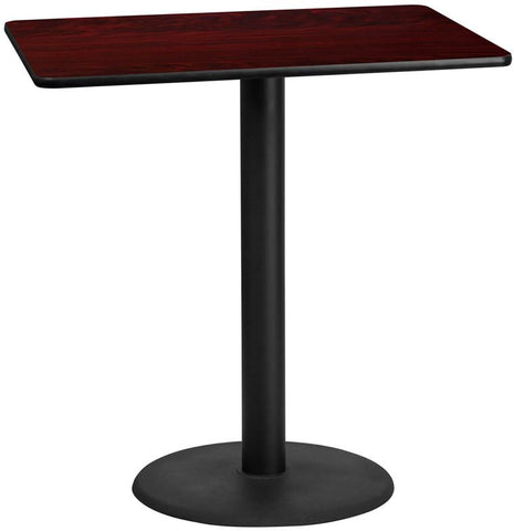 Flash Furniture XU-MAHTB-3045-TR24B-GG 30'' x 45'' Rectangular Mahogany Laminate Table Top with 24'' Round Bar Height Table Base - Peazz Furniture