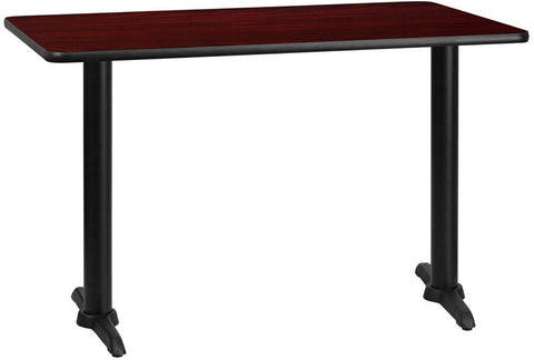 Flash Furniture XU-MAHTB-3048-T0522-GG 30'' x 48'' Rectangular Mahogany Laminate Table Top with 5'' x 22'' Table Height Bases - Peazz Furniture