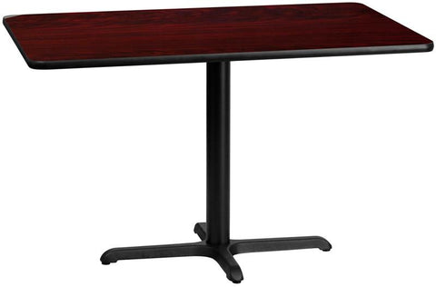 Flash Furniture XU-MAHTB-3048-T2230-GG 30'' x 48'' Rectangular Mahogany Laminate Table Top with 22'' x 30'' Table Height Base - Peazz Furniture