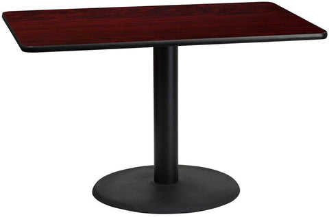 Flash Furniture XU-MAHTB-3048-TR24-GG 30'' x 48'' Rectangular Mahogany Laminate Table Top with 24'' Round Table Height Base - Peazz Furniture