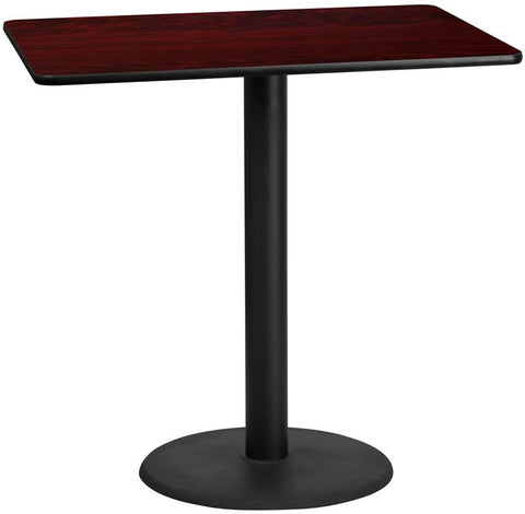 Flash Furniture XU-MAHTB-3048-TR24B-GG 30'' x 48'' Rectangular Mahogany Laminate Table Top with 24'' Round Bar Height Table Base - Peazz Furniture