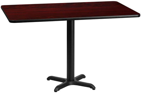 Flash Furniture XU-MAHTB-3060-T2222-GG 30'' x 60'' Rectangular Mahogany Laminate Table Top with 22'' x 22'' Table Height Bases - Peazz Furniture