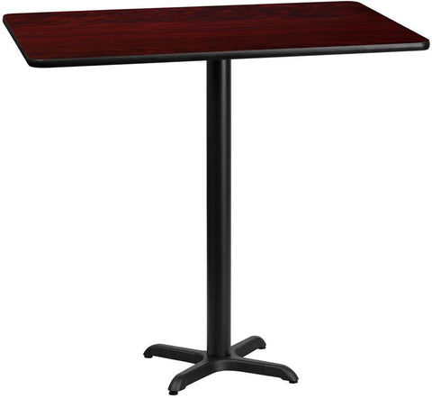 Flash Furniture XU-MAHTB-3060-T2222B-GG 30'' x 60'' Rectangular Mahogany Laminate Table Top with 22'' x 22'' Bar Height Table Bases - Peazz Furniture