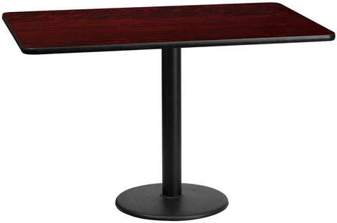 Flash Furniture XU-MAHTB-3060-TR18-GG 30'' x 60'' Rectangular Mahogany Laminate Table Top with 18'' Round Table Height Bases - Peazz Furniture