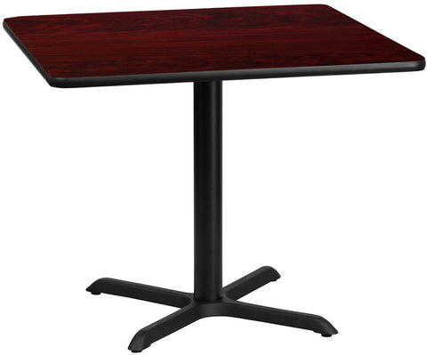 Flash Furniture XU-MAHTB-3636-T3030-GG 36'' Square Mahogany Laminate Table Top with 30'' x 30'' Table Height Base - Peazz Furniture