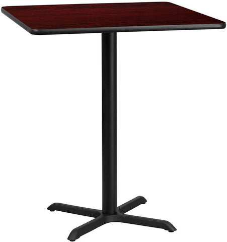 Flash Furniture XU-MAHTB-3636-T3030B-GG 36'' Square Mahogany Laminate Table Top with 30'' x 30'' Bar Height Table Base - Peazz Furniture