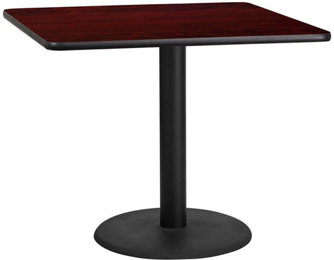 Flash Furniture XU-MAHTB-3636-TR24-GG 36'' Square Mahogany Laminate Table Top with 24'' Round Table Height Base - Peazz Furniture