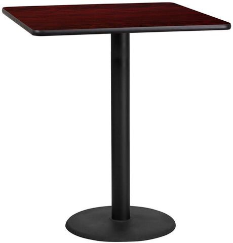 Flash Furniture XU-MAHTB-3636-TR24B-GG 36'' Square Mahogany Laminate Table Top with 24'' Round Bar Height Table Base - Peazz Furniture