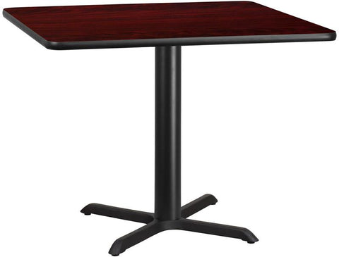 Flash Furniture XU-MAHTB-4242-T3333-GG 42'' Square Mahogany Laminate Table Top with 33'' x 33'' Table Height Base - Peazz Furniture
