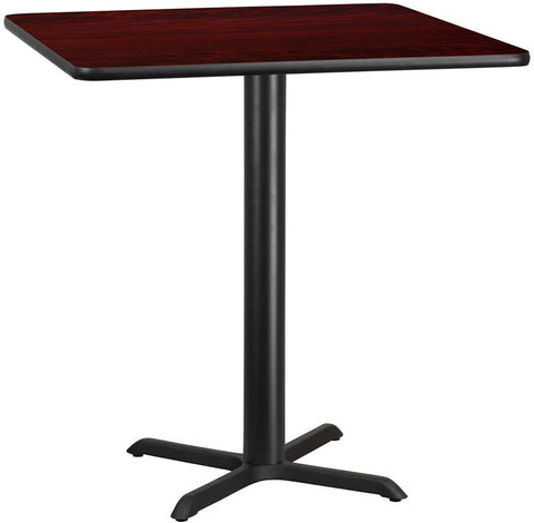 Flash Furniture XU-MAHTB-4242-T3333B-GG 42'' Square Mahogany Laminate Table Top with 33'' x 33'' Bar Height Table Base - Peazz Furniture
