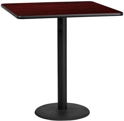 Flash Furniture XU-MAHTB-4242-TR24B-GG 42'' Square Mahogany Laminate Table Top with 24'' Round Bar Height Table Base - Peazz Furniture