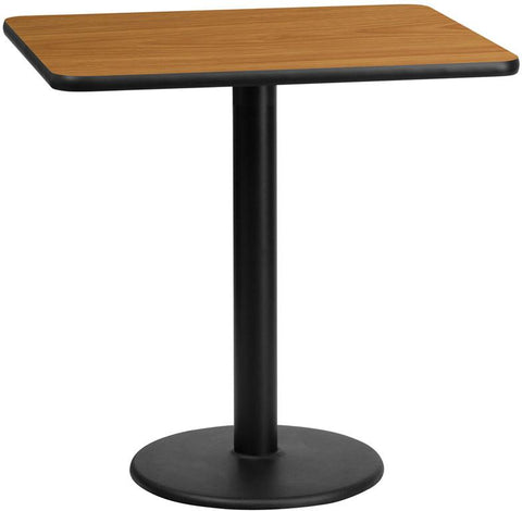 Flash Furniture XU-NATTB-2430-TR18-GG 24'' x 30'' Rectangular Natural Laminate Table Top with 18'' Round Table Height Base - Peazz Furniture