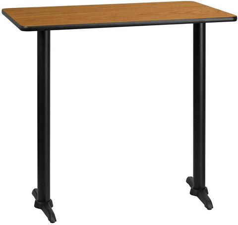 Flash Furniture XU-NATTB-3042-T0522B-GG 30'' x 42'' Rectangular Natural Laminate Table Top with 5'' x 22'' Bar Height Table Bases - Peazz Furniture