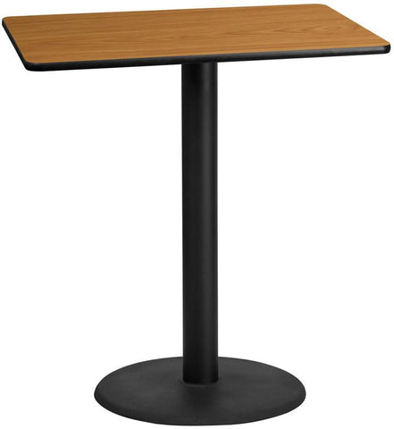 Flash Furniture XU-NATTB-3042-TR24B-GG 30'' x 42'' Rectangular Natural Laminate Table Top with 24'' Round Bar Height Table Base - Peazz Furniture