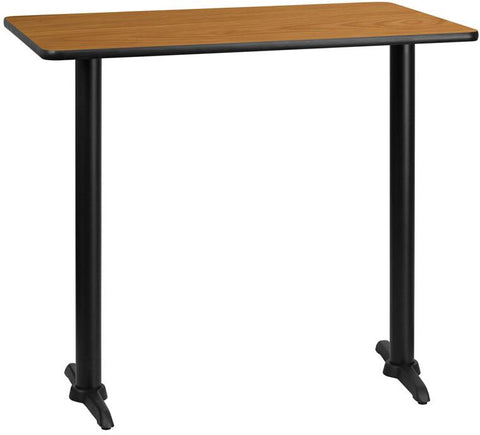 Flash Furniture XU-NATTB-3045-T0522B-GG 30'' x 45'' Rectangular Natural Laminate Table Top with 5'' x 22'' Bar Height Table Bases - Peazz Furniture