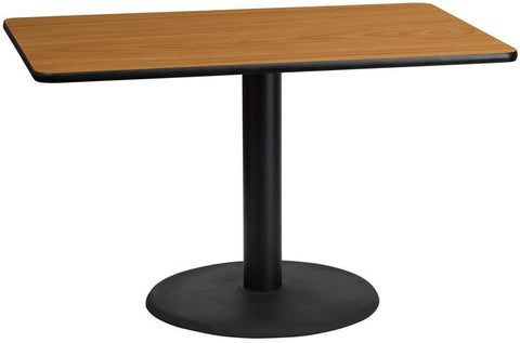 Flash Furniture XU-NATTB-3048-TR24-GG 30'' x 48'' Rectangular Natural Laminate Table Top with 24'' Round Table Height Base - Peazz Furniture