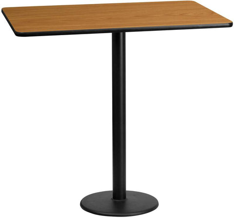 Flash Furniture XU-NATTB-3060-TR18B-GG 30'' x 60'' Rectangular Natural Laminate Table Top with 18'' Round Bar Height Table Bases - Peazz Furniture